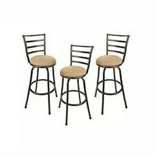 Bar Room Kitchen Den Dining Swivel Barstool Set of 3 Adjustable-Height Seat Tan
