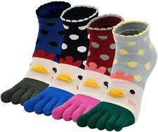 Cotton Sport Running Toe Socks for Women. Five Finger Socks with Toes. 4 Pairs.