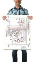 "Pantera De Tomaso Large Colorized Electric Diagrams Poster 22""x33"" 71-74"