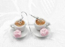 Handmade fimo tazza e piattino da tè con Rosa francese FANTASIE Orecchini BOXED