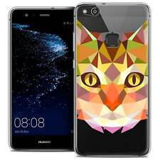 "Coque Housse Etui Pour Huawei P10 LITE (5.2"") Polygon Animal Souple Fin Chat"