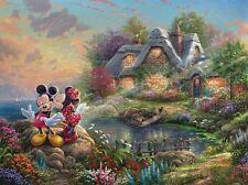 Mickey & Minnie Mouse Sweetheart Cove Thomas Kinkade Art Print Mounted