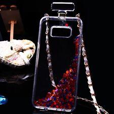 Samsung Galaxy S8 / S8 Plus Bling Liquid Glitter Rubber Bottle Case Cover Chain