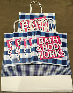 7 BATH & BODY WORKS Paper Shopping Gift Tote Bag Md SM LOT w Tissue Paper *SALE