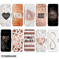 ROSE GOLD HEART MARBLE INITIALS PERSONALISED FLIP WALLET CASE FOR APPLE IPHONE