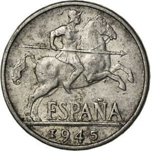 [#773437] Coin, Spain, 10 Centimos, 1945, Madrid, VF, Aluminum, KM:766
