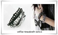 Lederarmband *Vintage Look*mit Nieten - Ketten* Armband Punk Rock Boho *schwarz