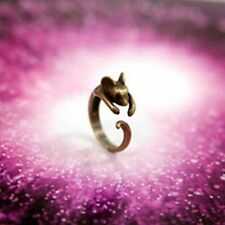 Vintage style antique gold mouse charm ring Size K