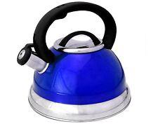 3 Quart Metallic Blue Whistling Tea Kettle with Easy Pour Handle Capsule Base