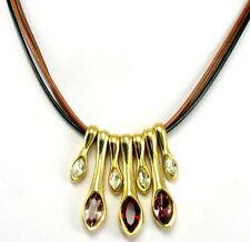 Halskette Ketten Anhänger Kette Gold Lila Rot Strass stein länge 45 cm