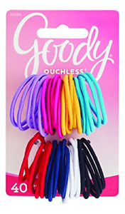 Goody Ouchless Medium Hair Elastics 2mm, 40 Count Assorted colors