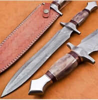 Damascus Hand Forged Fix Blade Hunting/Bushcraft Dagger Knife 15 Inches DK-4006