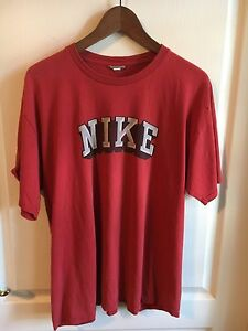 Nike Vtg Block Letter T-Shirt Red Thin Distressed Gray/White Shadow 1980's rare!