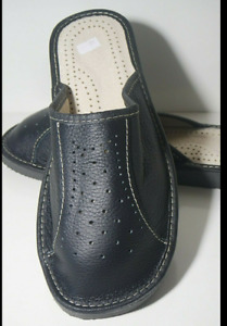 MENS BLACK 100% LEATHER  SLIPPERS MULES SCUFF SHOES ORTHOPEDIC SIZE 8 TO 13