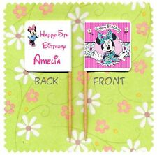 20 PERSONALISED MINNIE MOUSE CUP CAKE FLAG Party Pick Topper Decoration Birthday