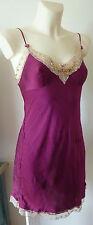 Next Plum Lace Silk Nightdress Chemise Slip Negligee Size 10