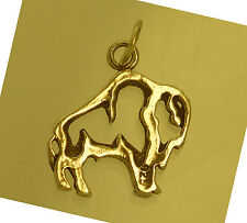 WOW New Water Bison Buffalo Bull Pendant outline charm Gold Plated over 925 Silv