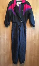 Snowmass Ski Snow Suit Women 80s Medium One piece Snow Bib Snowsuit black pink