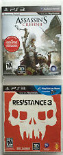 SONY PLAYSTATION 3 PS3 2 GAME LOT ASSASSIN'S CREED III & RESISTANCE 3 ~ COMPLETE