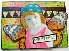 """""""SWEET CHILD"""" mixed media collage FAIRY vintage child altered art card aceo"""
