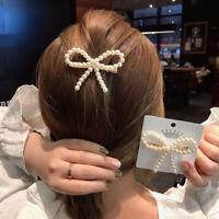 Pince À Cheveux Perle Bow Barrette Bâton épingle Femme Fille Bijoux Cadeaux SP
