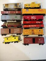 Ho scale Train cars lot of 14. #T8, flat cat caboose cattle