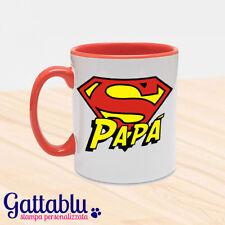 Tazza mug colorata Super Papà, idea regalo per la festa del papà! Rossa!