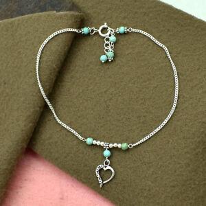"18K White Gold Over Blue Turquoise Gemstone & Heart Shape Charm Bead Anklet 10"""