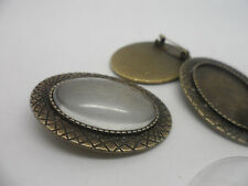 Vintage Bronze Brooch Making Kit,Retro 3 settings & Cabochons.40x30mm,tray 30x20
