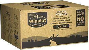 Winalot Purina Perfect Wet Dog Food Mixed Meaty Chunks Portions Jelly 80 x 100 g