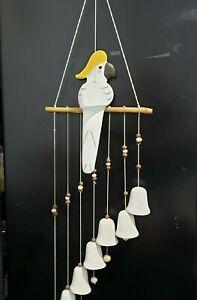 Ceramic Bird Parrot Wind Chimes-7 Ceramic Bells -Wind Bells for Indoor/outdoor