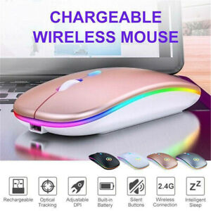 2.4GHz Slim Wireless Mouse Mice Optical Scroll Ultra Rechargeable For PC Laptop