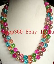 New 8mm Multicolor Tourmaline Gemstone Round Beads Necklace 36''