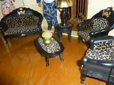 BARBIE DOLL SIZE DOLLHOUSE LIVING ROOM  FURNITURE SOFA, LAMP, TABLE, CHAIRS