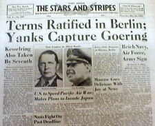 1945 WW II Stars & Stripes newspaper Nazi HERMANN GOERING is CAPTURED by ALLIES