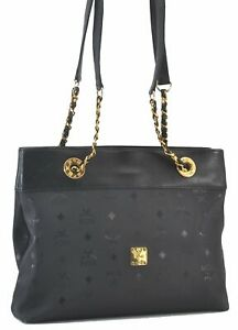 Authentic MCM PVC Leather Vintage Shoulder Hand Bag Black C2877