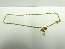 10kt yellow gold ankle bracelet w/dolphin/ball charm sz 9in wgt1.3 grams