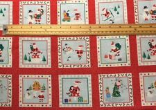Fabric 100% cotton Makower UK Xmas Jolly Santa Labels 1955/1