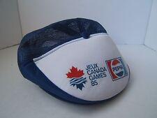 Vintage Pepsi Flat Cap Jeux Canada Games 85 Blue Mesh Snapback Cola Soda Pop Hat