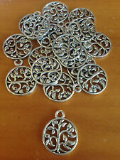 Antique Silver Round Tree Charms / Pendants x 15