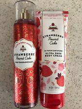 Bath And Body Works Strawberry Pound Cake fragrance Body Mist & Shea Cream New