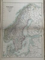 1897 SWEDEN NORWAY DENMARK LARGE ORIGINAL ANTIQUE MAP A & C BLACK 123 YEARS OLD