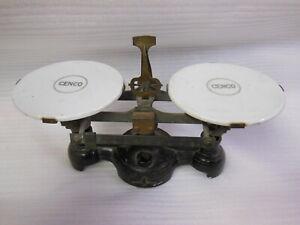 CENCO old Merchantile Trip Scales Porcelain Trays Chicago Central Scientific