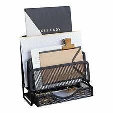 Blu Monaco Black Wire Mesh Desk Organizer - Vertical File Organizer - Inbox O...