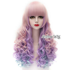 Lolita Pink Purple Mix Blue Long 65CM Curly Hair Party Cosplay Wig with Bangs