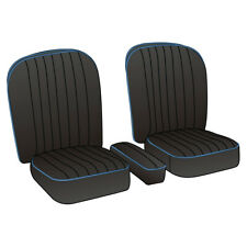 MGA Coupe Seat Cover set Leather Black / Blue piping Pair 1955-1962 NEW 246-040