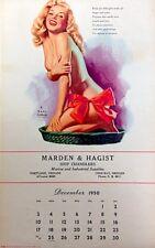 Marilyn Monroe Calendar 1950 Earl Moran Pinup Litho December Christmas EX/NM COA