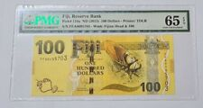 2013 FIJI 100 Dollars PMG65 EPQ GEM UNC {P-119a} First Prefix 2 Zero