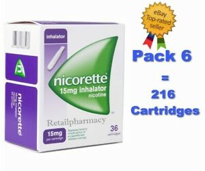 6 Packs of Nicorette 15mg Inhalator 36 Cartridges!! !!!Price Reduced!!!  11/2023