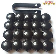 20 Roue Bouchons Caches écrous de roue Set 17 mm noir brillant + extracteur